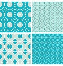 Abstract geometric circles seamless patterns set vector image vector image