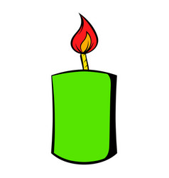 burning candle icon cartoon vector image
