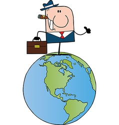 Businessman Holding A Thumb Up On Earth vector image