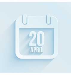 calendar apps icon 20 april 2014 Easter day vector image vector image