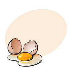 cracked broken and spilled chicken egg sketch vector image vector image