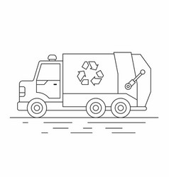 garbage truck line icon vector image