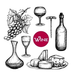 Hand Drawn Wine Set vector image