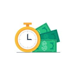 Payment day clock and money bills vector image vector image