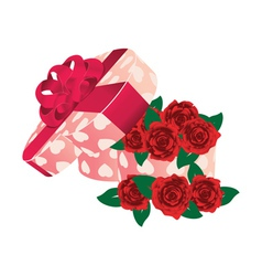 Roses in heart shaped box vector image vector image