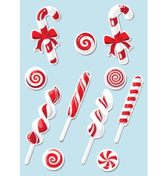 set of Christmas candy sticker vector image vector image