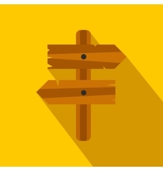Wooden direction arrow sign flat icon vector image vector image