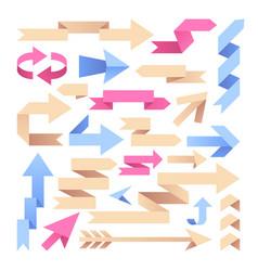 arrow ribbons origami paper arrows color vintage vector image