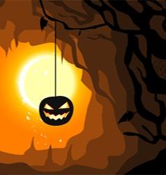 Hanging pumpkin halloween horizontal banner vector