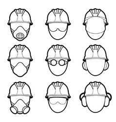 human protective work wear icon set vector image vector image