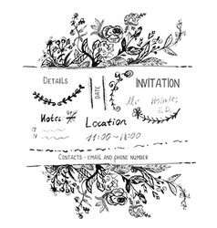 Invitation design with hand drawn flowers and vector image vector image