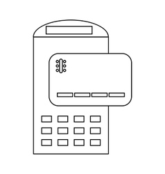 POS terminal and credit card icon outline style vector image vector image