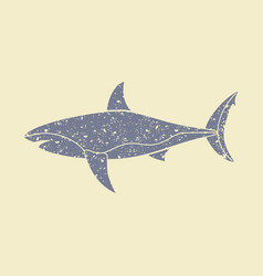 the silhouette of a shark icon vector image