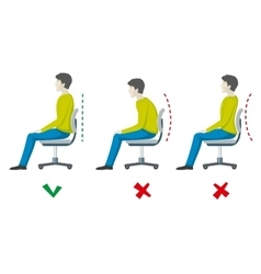 Wrong and right spine sitting posture vector image