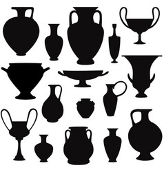 ancient greek vase silhouette set greece icon vector image