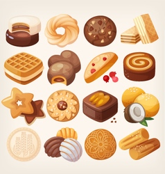 Cookies and biscuits icons set vector image