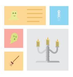 flat icon celebrate set of spirit candlestick vector image vector image