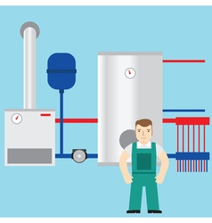 Plumber and boiler room in the background vector image vector image