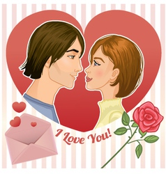 Young couple in a red heart eps10 vector image