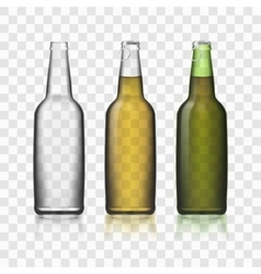Beer Glass Bottles Realistic 3d Set Isolated On vector image