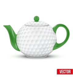 Ceramic teapot in golf ball style football vector