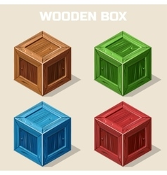 Colored isometric Wooden box icon vector image
