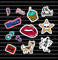 colored stickers collection vector image