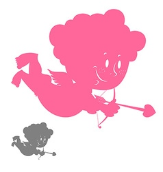 Cupid silhouette Pink Angel with a smile Hilarious vector image vector image
