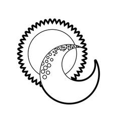 Cute moon with sun vector