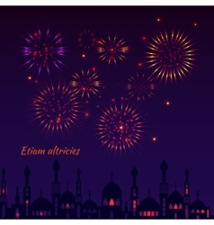 Greeting card with a silhouette of mosques and vector image