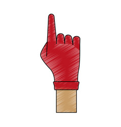 hand with glove pointing up vector image