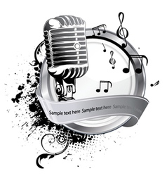 microphone on a label vector image vector image