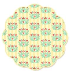 Retro flower round napkin vector image