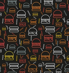 Seamless pattern of colored burgers and fries on vector image