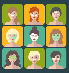 set of women icons with different cosmetic vector image