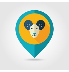 Sheep flat pin map icon Animal head vector image