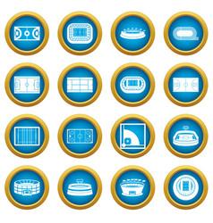 sport stadium icons blue circle set vector image