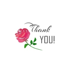 Thank You lettering and a pink rose vector image vector image