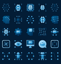 Ai icons set artificial intelligence logo vector