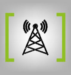 antenna sign black scribble vector image vector image