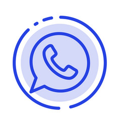 App chat telephone watts app blue dotted line vector