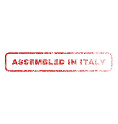 assembled in italy rubber stamp vector image