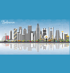 Bahrain city skyline with gray buildings blue sky vector
