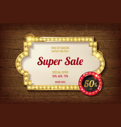 big discount frame on wooden background vector image