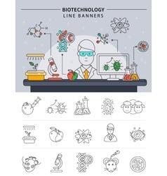 Biotechnology Line Banner Set vector image