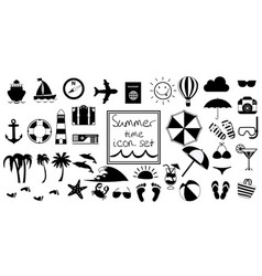 black and white summer travel or vacation beach vector image