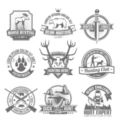 Black Hunting Emblems Set vector image