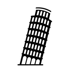Black icon leaning tower pisa vector