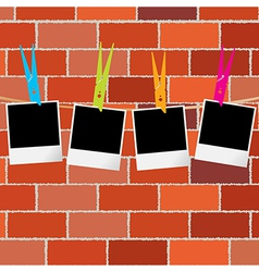 Blank photo frames with clothes pegs on rope over vector image