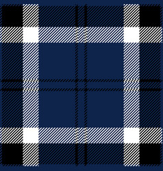 blue black and white tartan plaid seamless pattern vector image